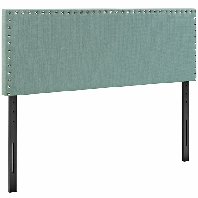 Phoebe Square King Fabric Headboard With Silver Nailheads, Laguna