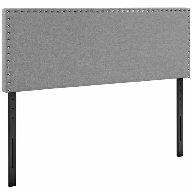 Phoebe Square King Fabric Headboard With Silver Nailheads, Light Gray