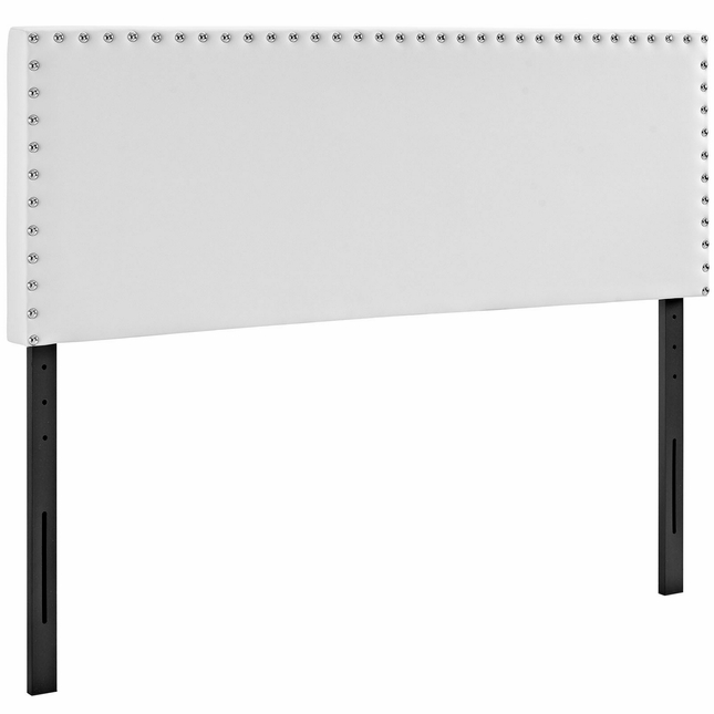 Phoebe Square King Vinyl Headboard With Silver Nailheads, White