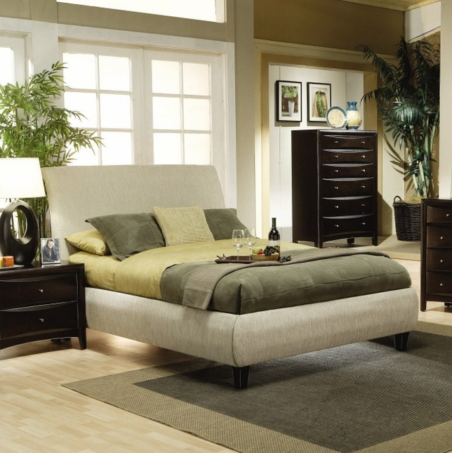 Phoenix Beige Fabric Upholstered King Size Bed Coaster 300369KE