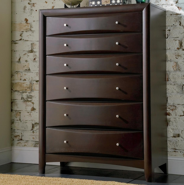 Phoenix Deep Cappuccino Finish Six Drawer Chest Coaster 200415