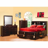 Phoenix Storage Bed Cappuccino Bedroom Set Coaster 200409