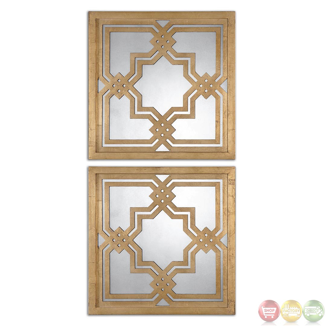 Piazzale square traditional mirror set with intricate for Traditional mirror