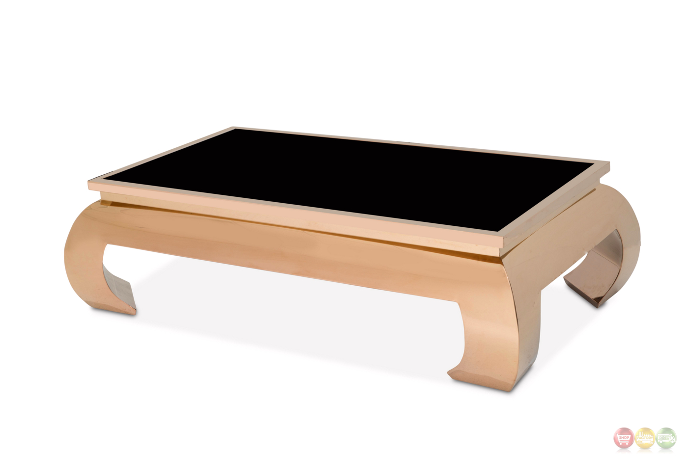 Pietro Ultra Modern Coffee Table With Glass Top And Rose Gold Finish