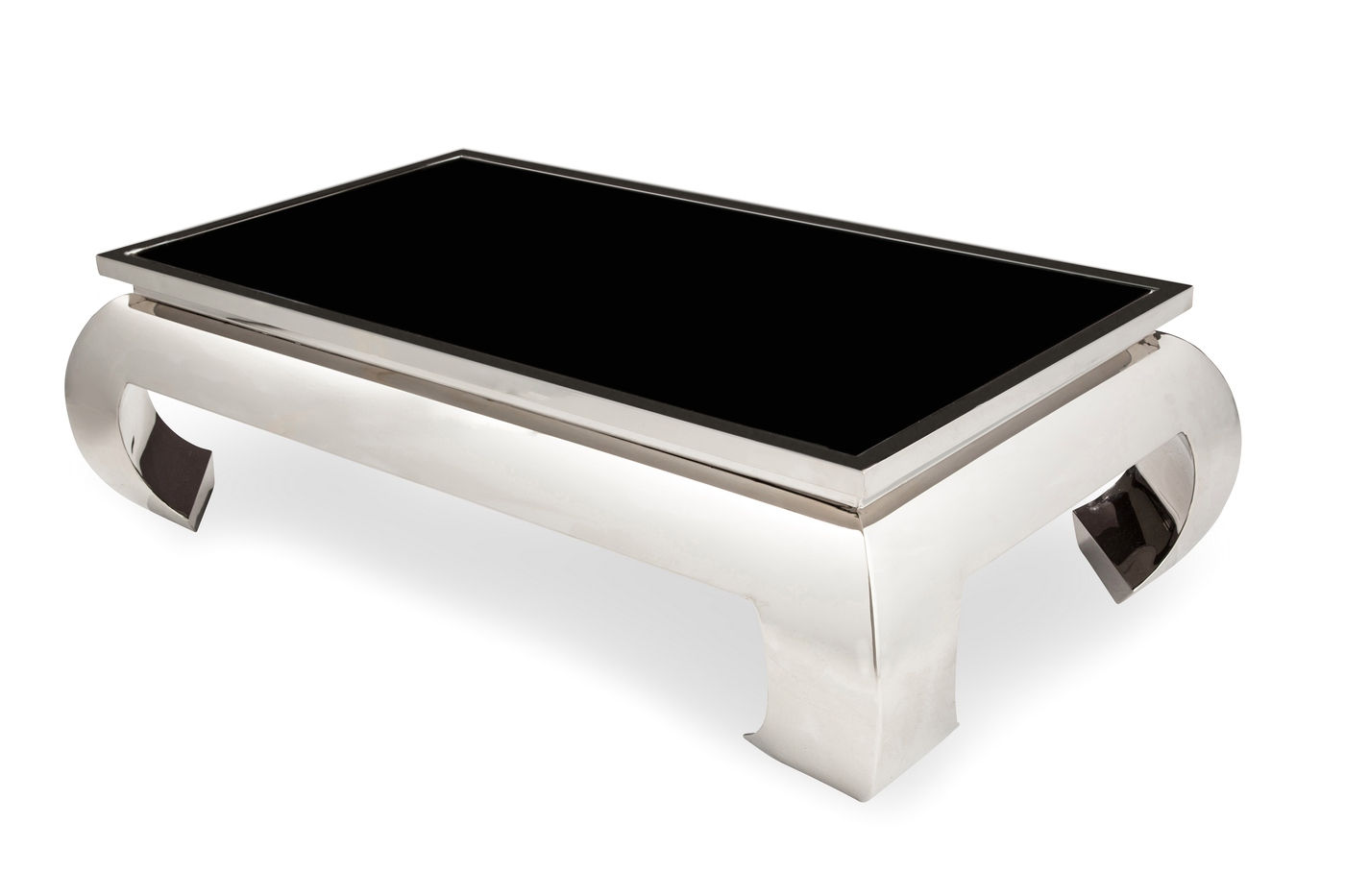 pietro ultra modern coffee table with glass top and silver finish. Black Bedroom Furniture Sets. Home Design Ideas