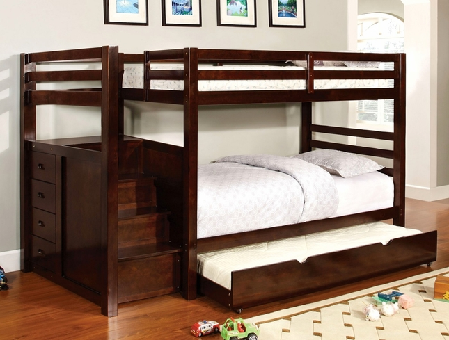 Pineridge Dark Walnut Twin Bunk Bed with Built-in Steps and Drawers