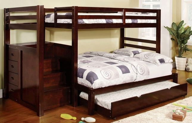 Pineridge Dark Walnut Twin over Full Bunk Bed w/Built-in Step Drawers