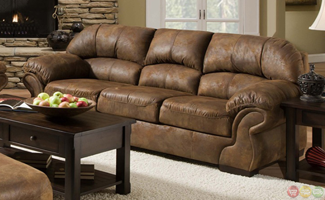 Pinto tobacco finish microfiber living room sofa and loveseat set Microfiber sofa and loveseat set