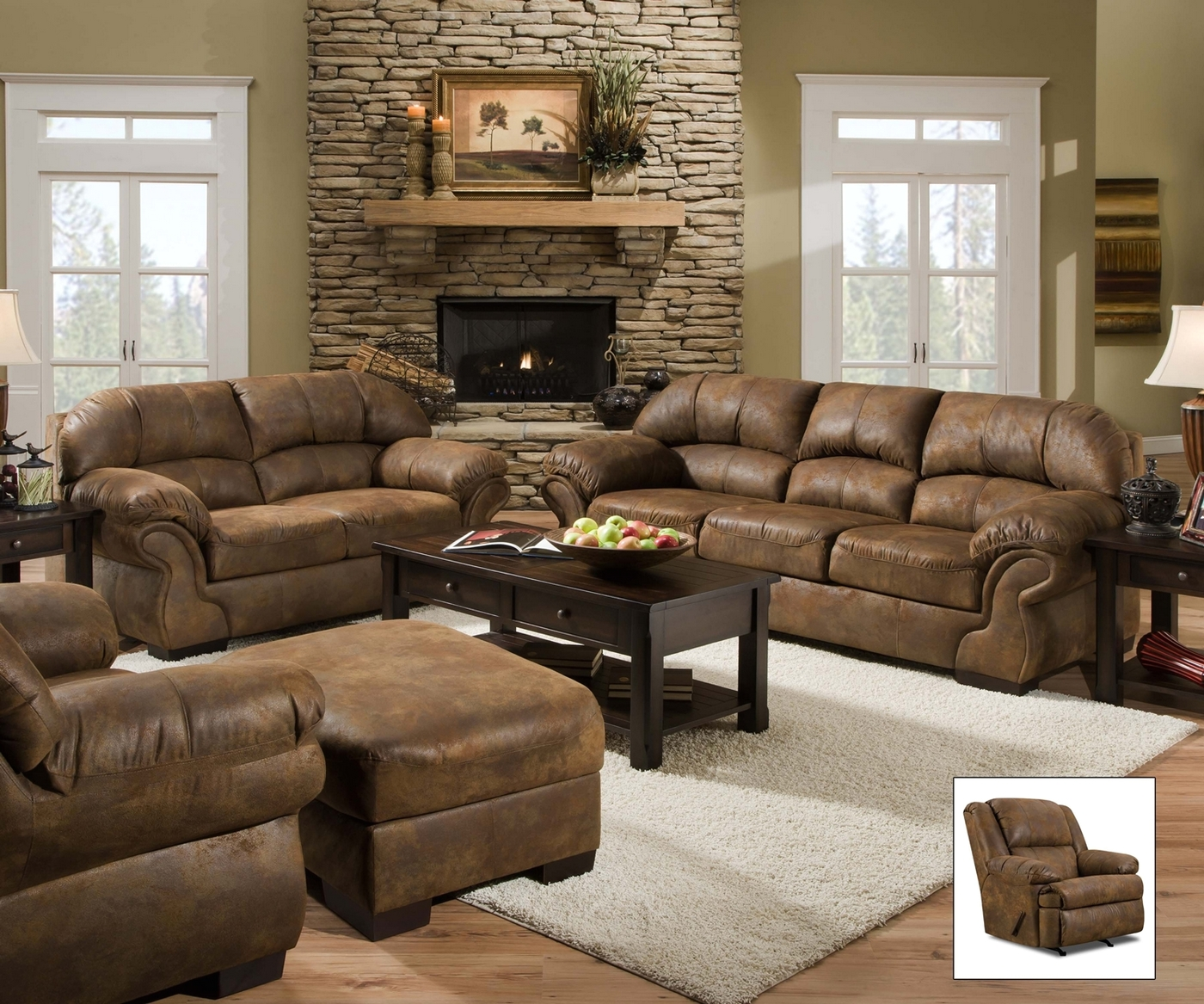 microfiber living room set pinto tobacco finish microfiber living room sofa and 12436