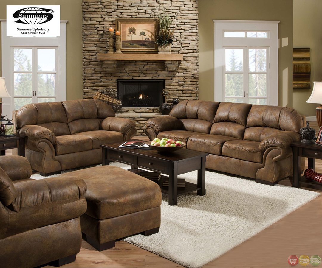 Pinto tobacco finish microfiber living room sofa and for Upholstery living room furniture