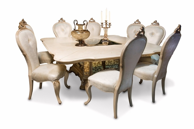 "Platine De Royal 5-pc French 84"" Square Dining Table Set In Champagne"