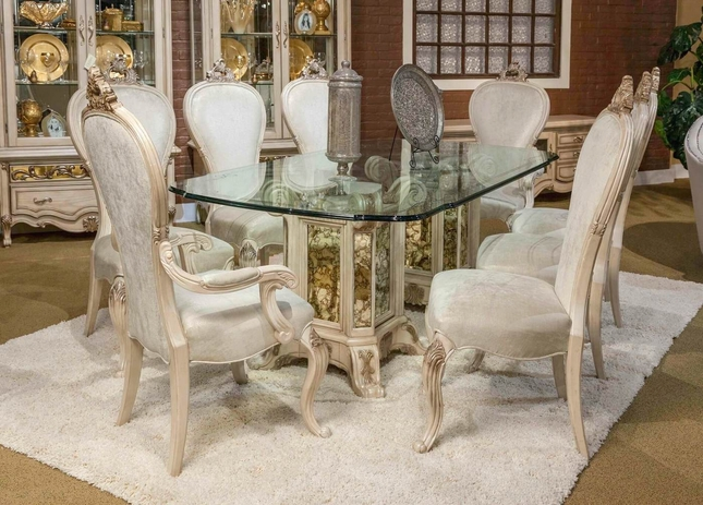 Platine De Royal 5 Pc French Provincial 102 Glass Top Dining Table Set