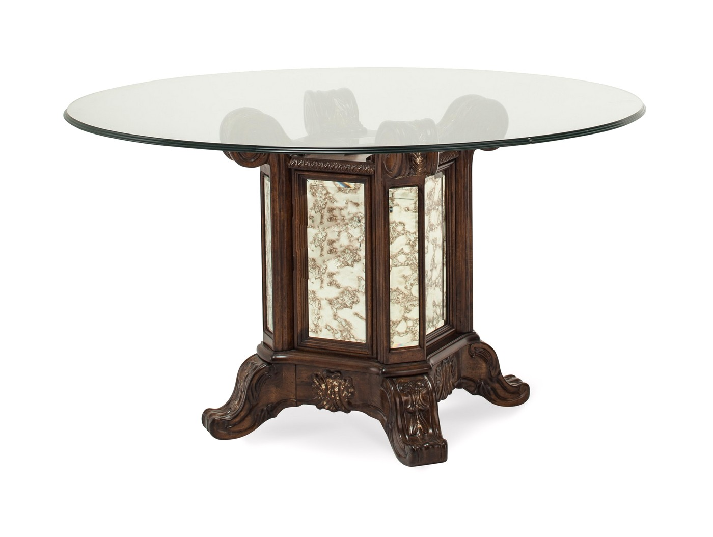 """Platine De Royale 54"""" Round Glass Dining Table In Light"""