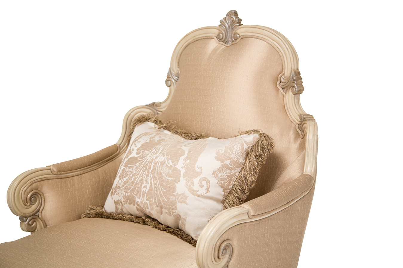 Platine de royale champagne chaise with french provincial for Carved wooden chaise