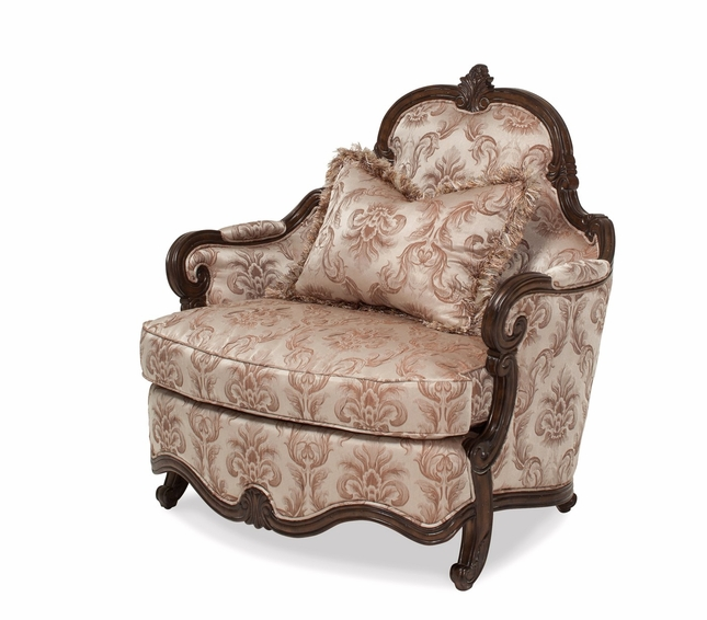 Incroyable Platine De Royale French Beige Patterned Chair And A Half In Light Espresso