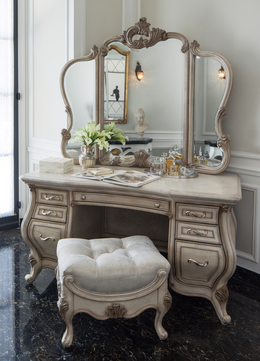 Platine De Royale French Provincial Crystal Tufted Vanity