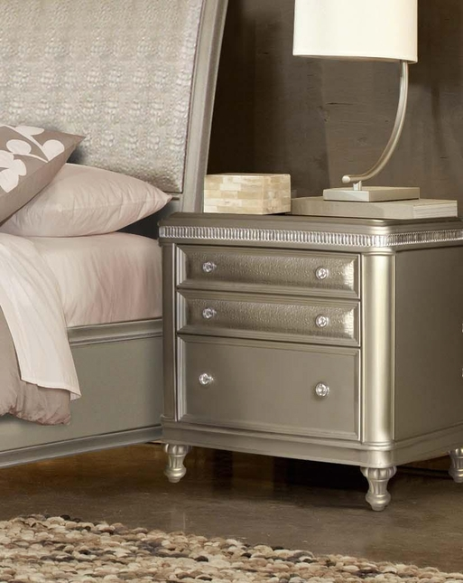 Platinum Silver Contemporary 3-Drawer Faux Croc Leather Nightstand