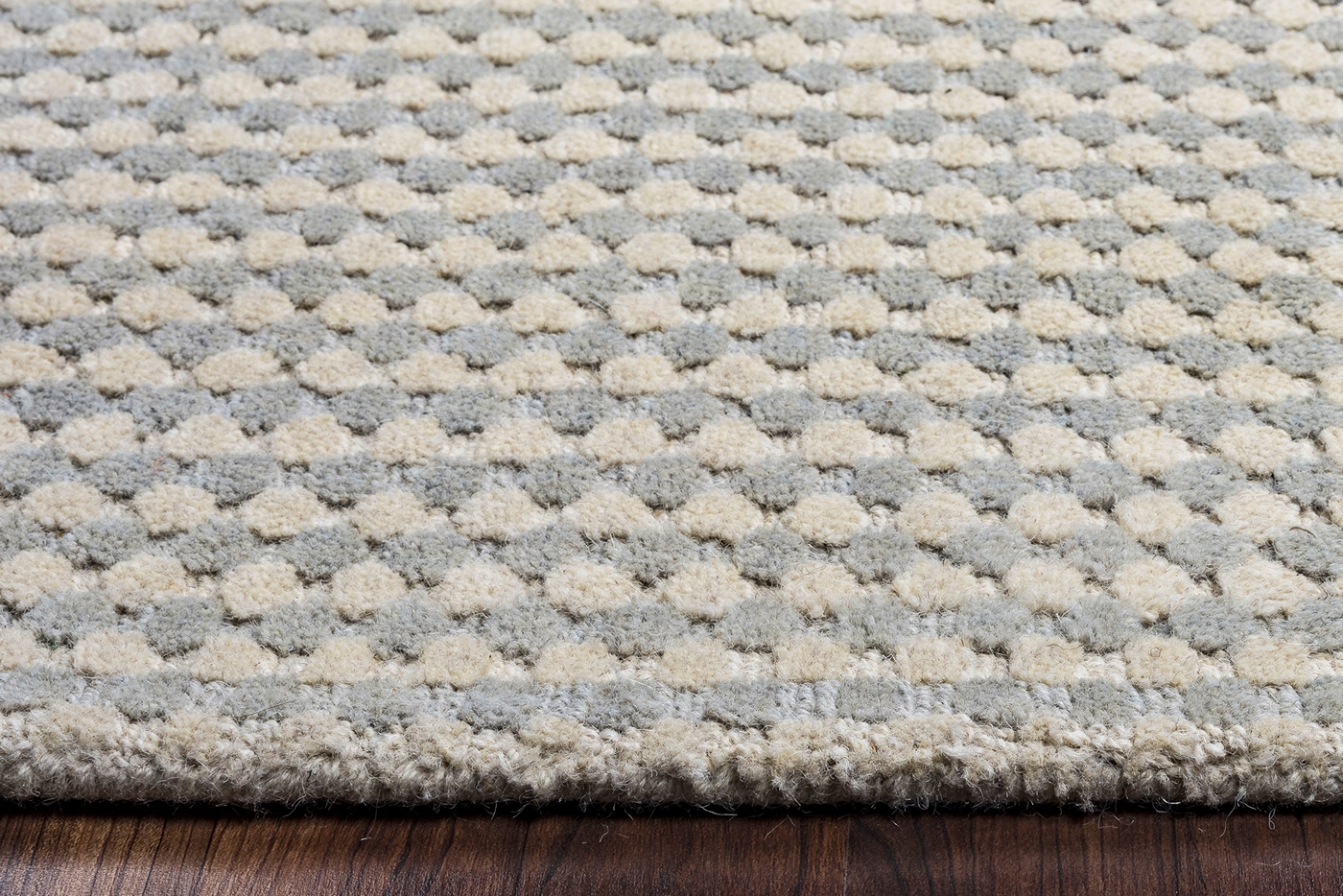 Platoon Dotted Pattern Wool Area Rug In Blue Grey Amp Brown