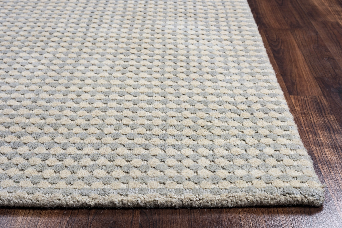 Grey Tan And Brown Area Rug: Platoon Dotted Pattern Wool Area Rug In Blue Grey & Brown