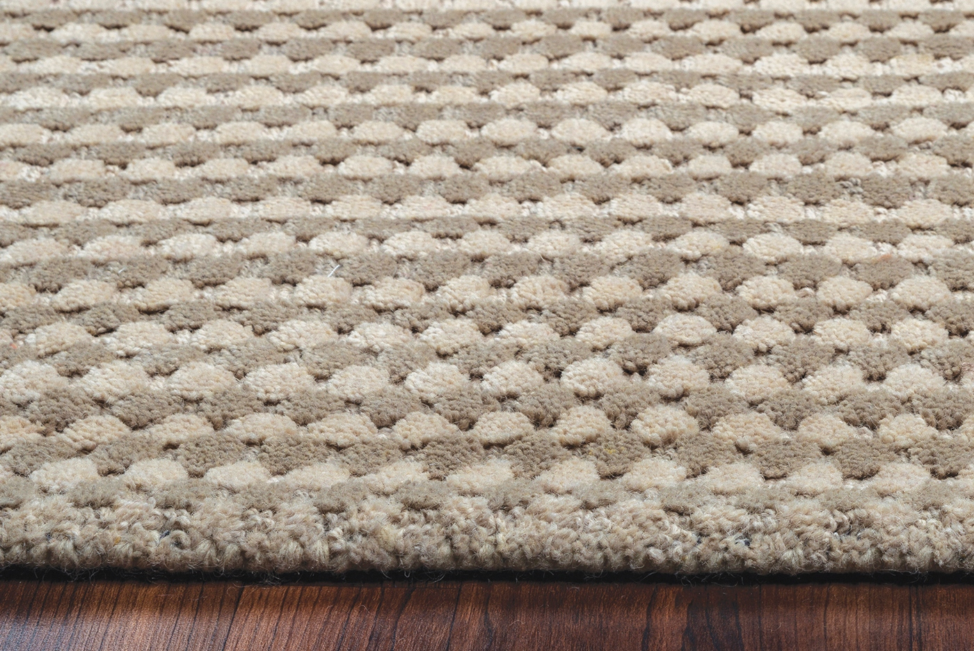 Grey Tan And Brown Area Rug: Platoon Dotted Pattern Wool Area Rug In Grey & Khaki, 3' X 5