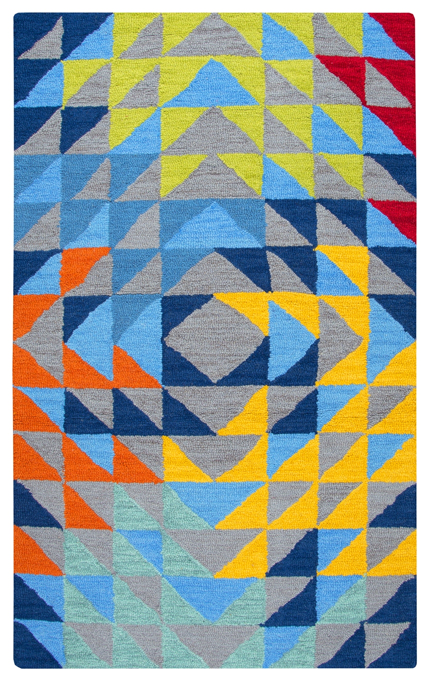Play Day Kids Triangle Geo Wool Area Rug In Gray