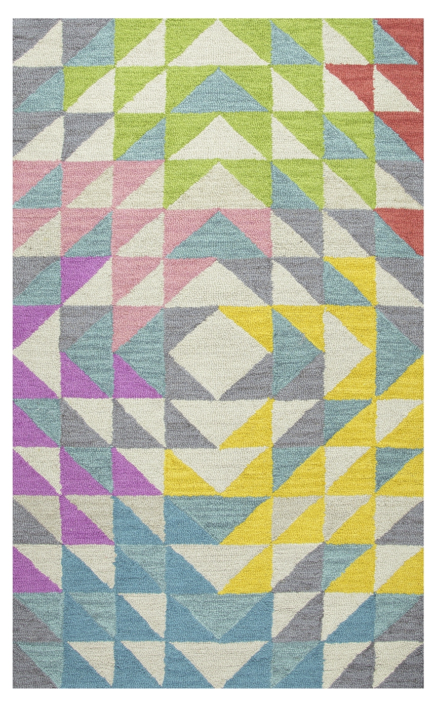 play day kids triangle geo wool area rug in mullticolor ivory 5 39 x 7 39. Black Bedroom Furniture Sets. Home Design Ideas