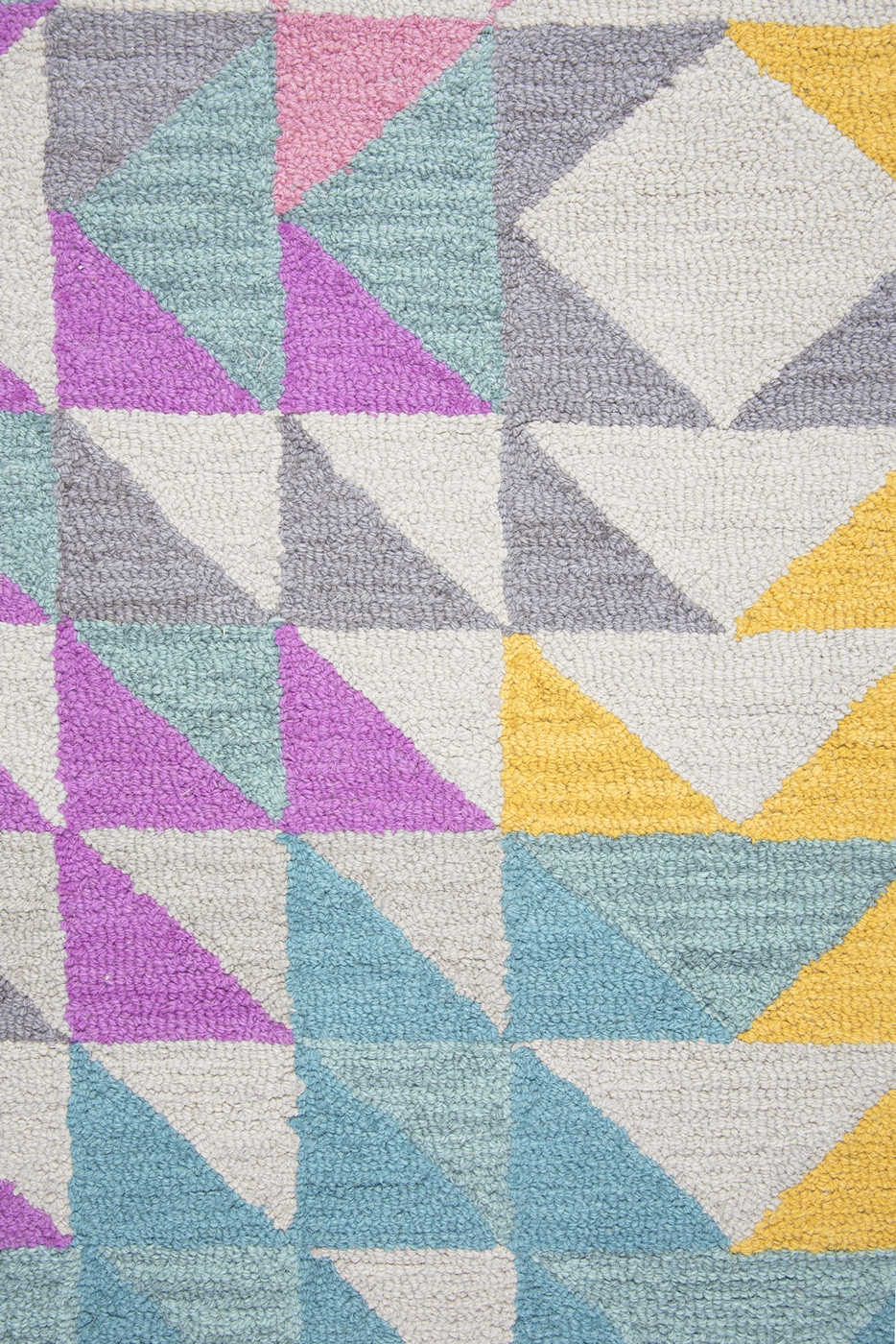 Play Day Kids Triangle Geo Wool Area Rug In Mullticolor