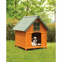 Pluto Modern Rustic Dog House in Honey Oak & Green Finish