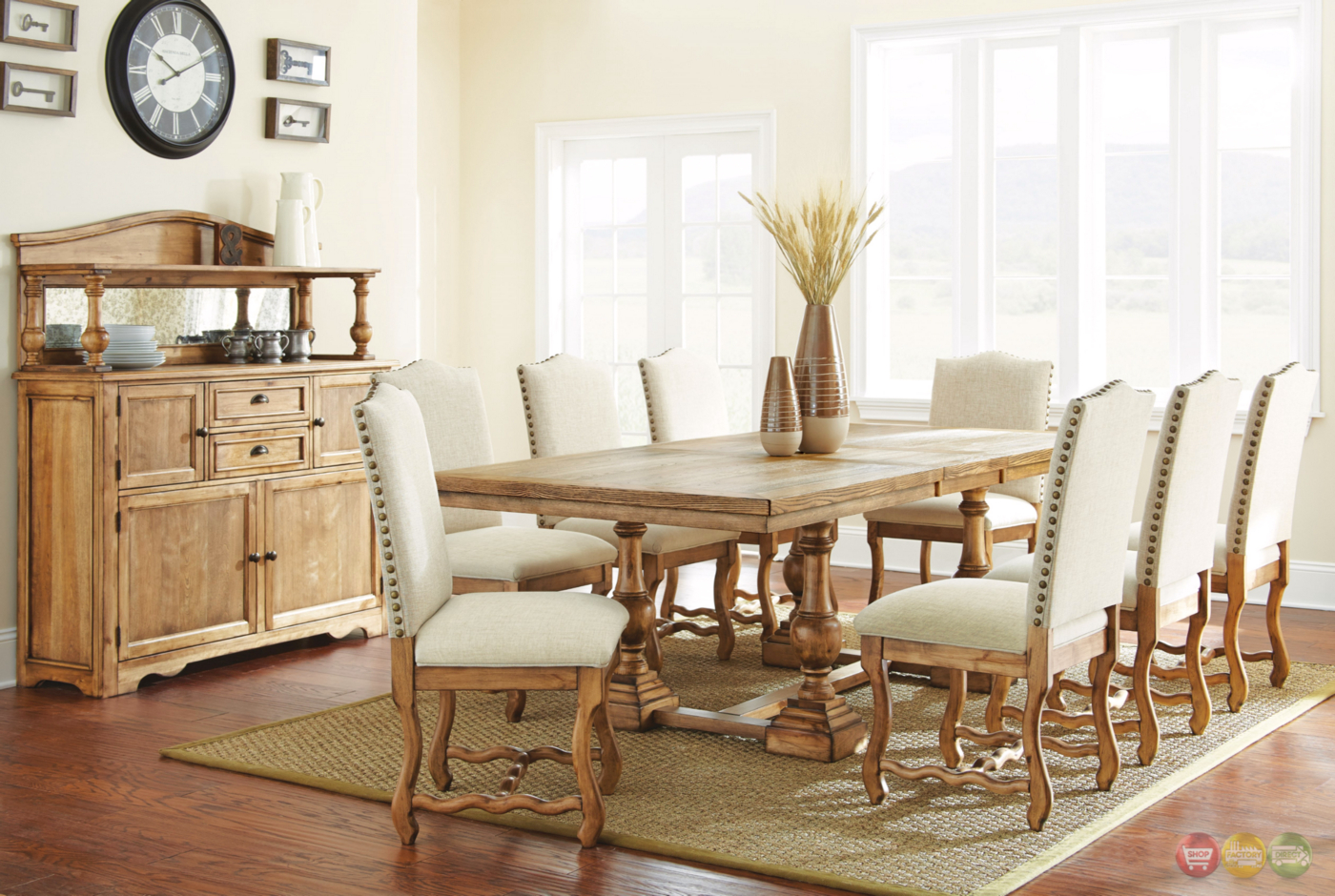 Plymouth rustic elm trestle dining table in burnished oak for House to home plymouth furniture