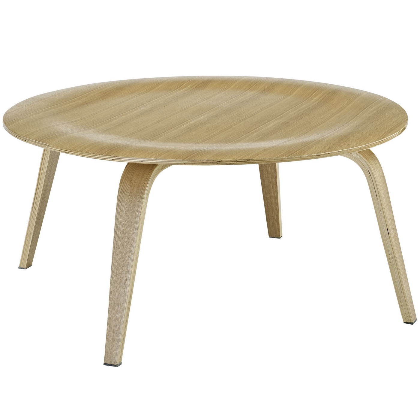 Plywood modern wood grain panel round coffee table natural for Modern wooden coffee tables