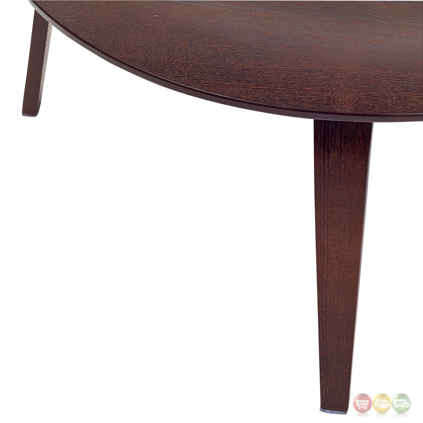 Plywood Modern Wood Grain Panel Round Coffee Table Wenge