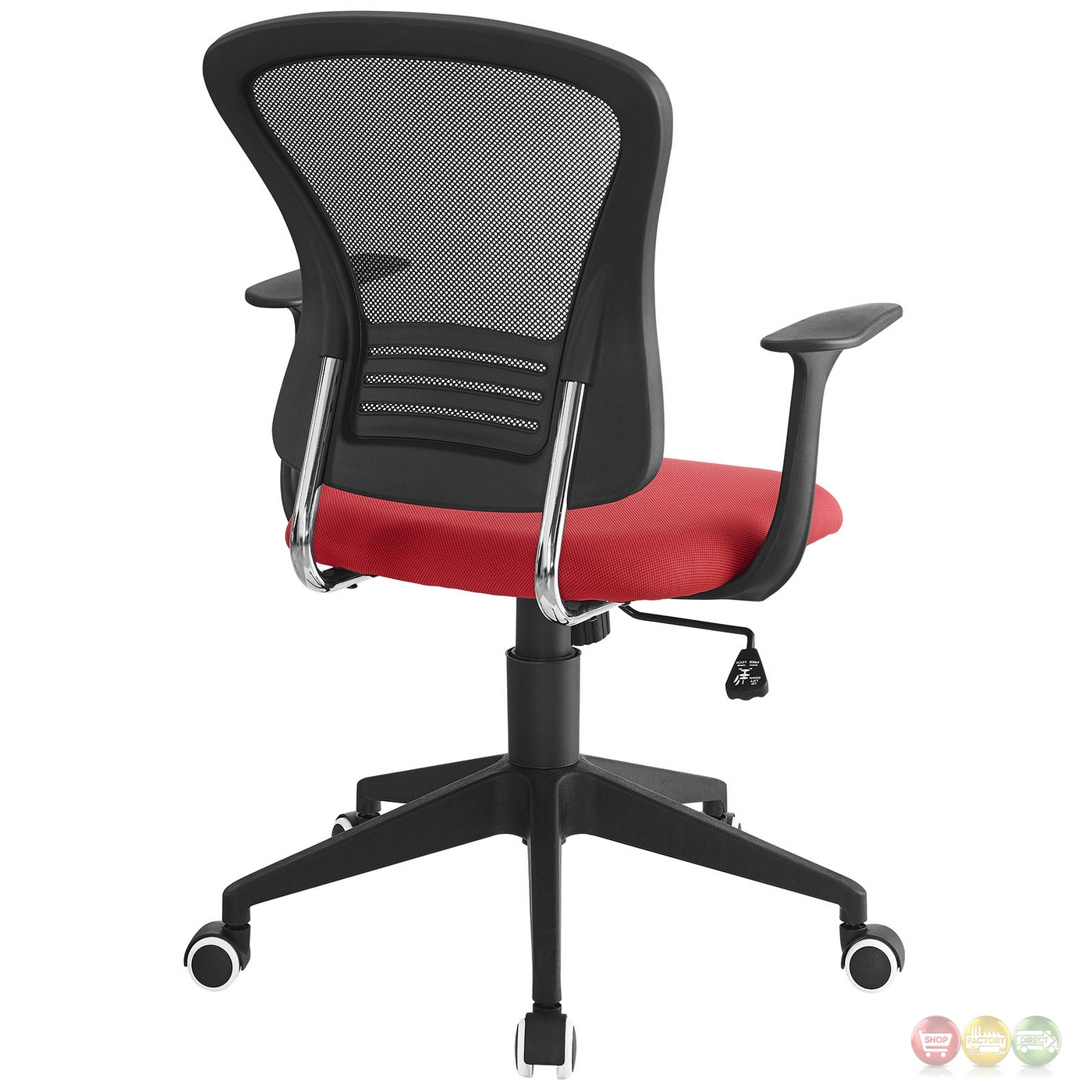poise modern ergonomic mesh back office chair with lumbar support red. Black Bedroom Furniture Sets. Home Design Ideas