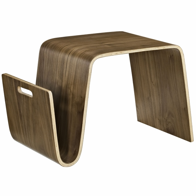 Polaris Contemporary Wood Side Table With Magazine Holder Walnut Magnificent Contemporary Magazine Holder