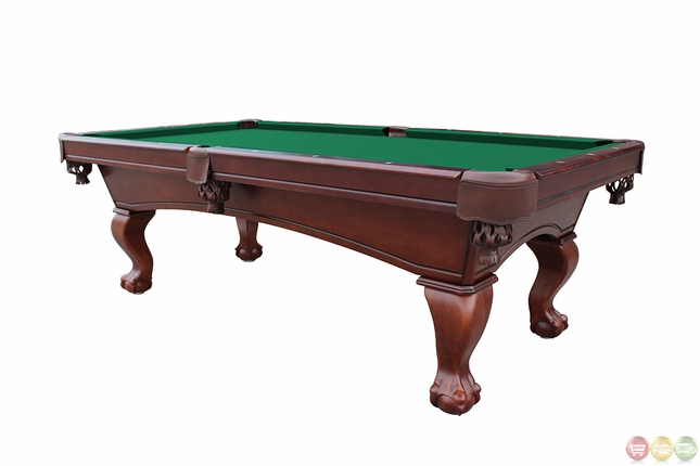 Green 8 foot ball and claw style slate pool table for 1 inch slate pool table