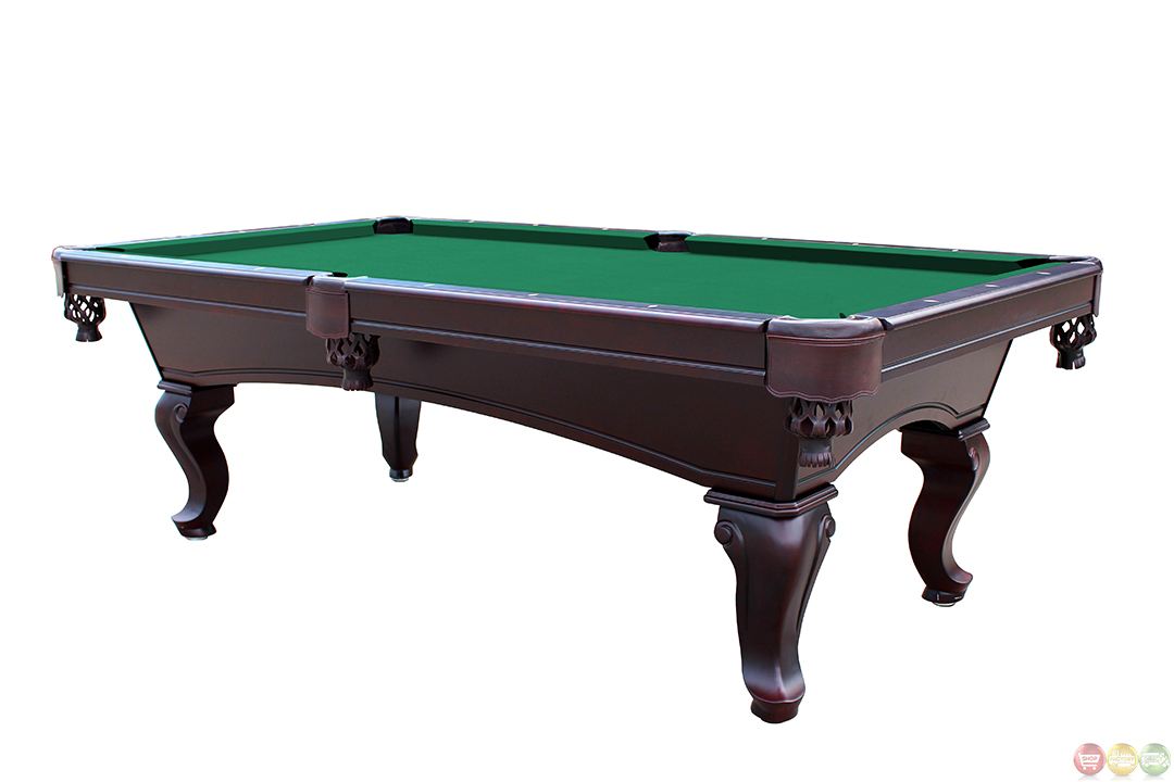 Green 8 foot queen anne style 3 piece slate pool table for 10 foot pool table