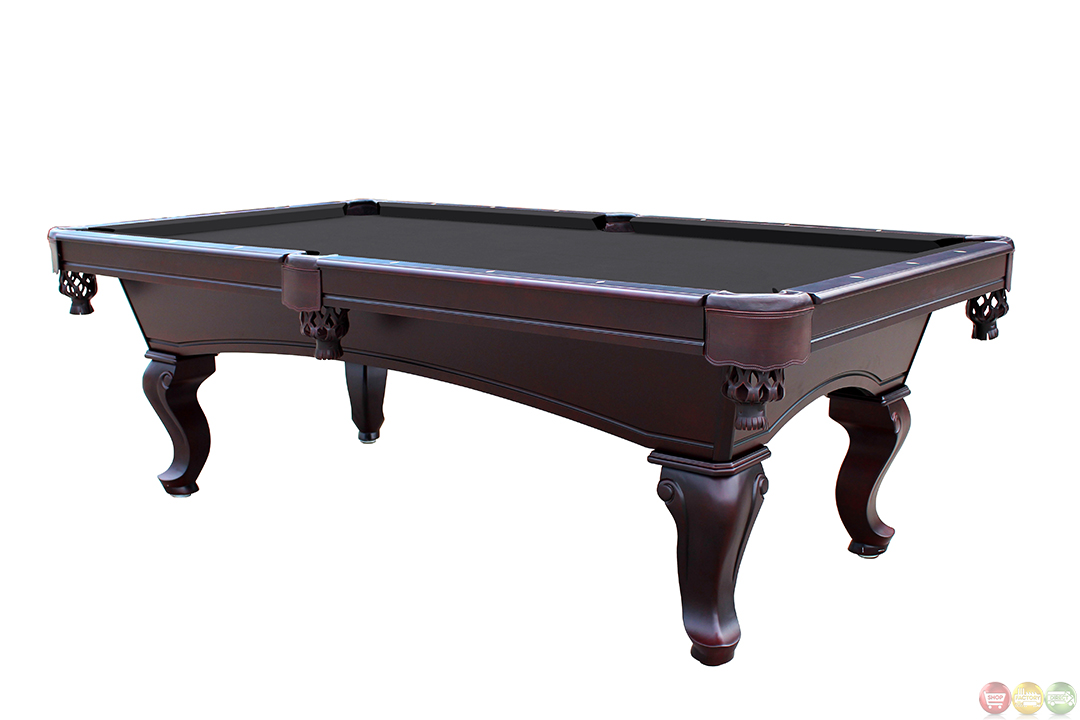 Pool tables black 8 feet queen anne slate pool table for 1 inch slate pool table