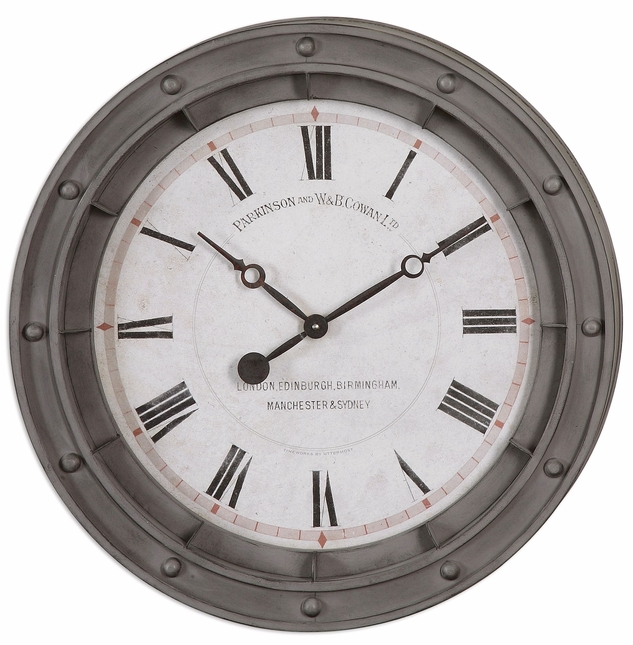 "Naval Porthole Wall Clock with Rust Gray Metal Frame 24""x24"" 06092"