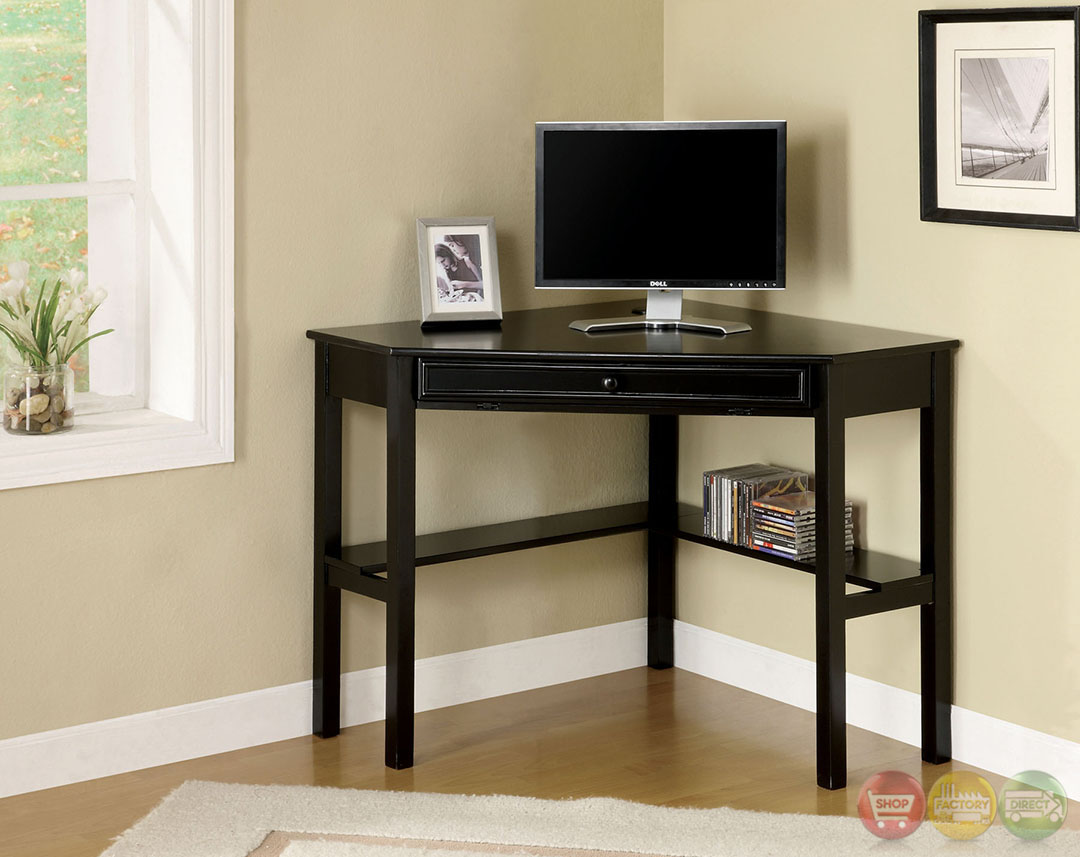 Porto Contemporary Black Corner Desk with Keyboard Tray