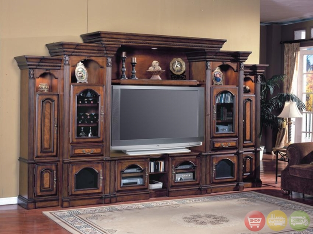 Portofino 6 Pc Traditional Wall Unit Large TV Entertainment Center POR#100-6TX