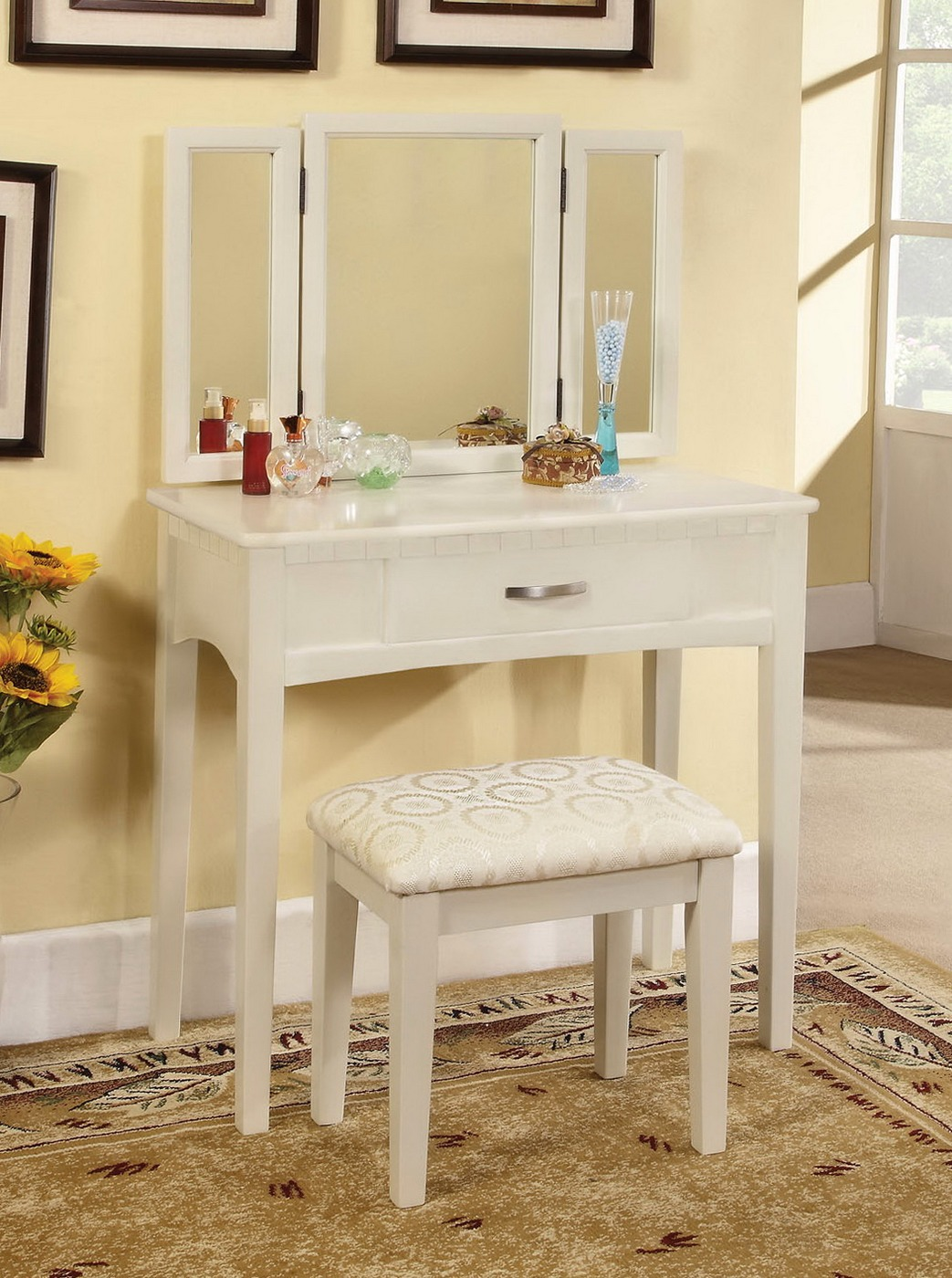 Potterville Modern White Vanity Table With Padded Bench