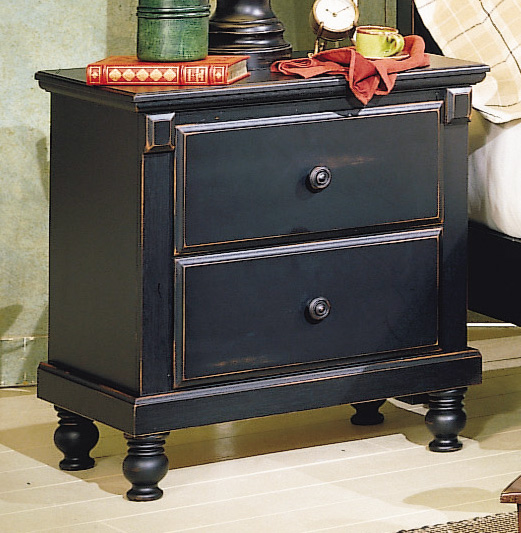 Pottery distressed black new england style bedroom - Distressed bedroom furniture sets ...