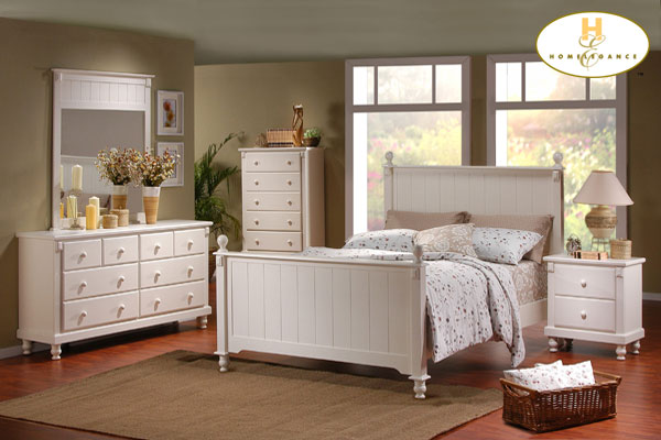 Pottery Distressed White New England Style Bedroom Furniture Set