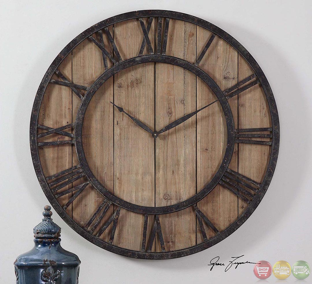 powell rustic lodge aged wood panels wall clock 06344. Black Bedroom Furniture Sets. Home Design Ideas