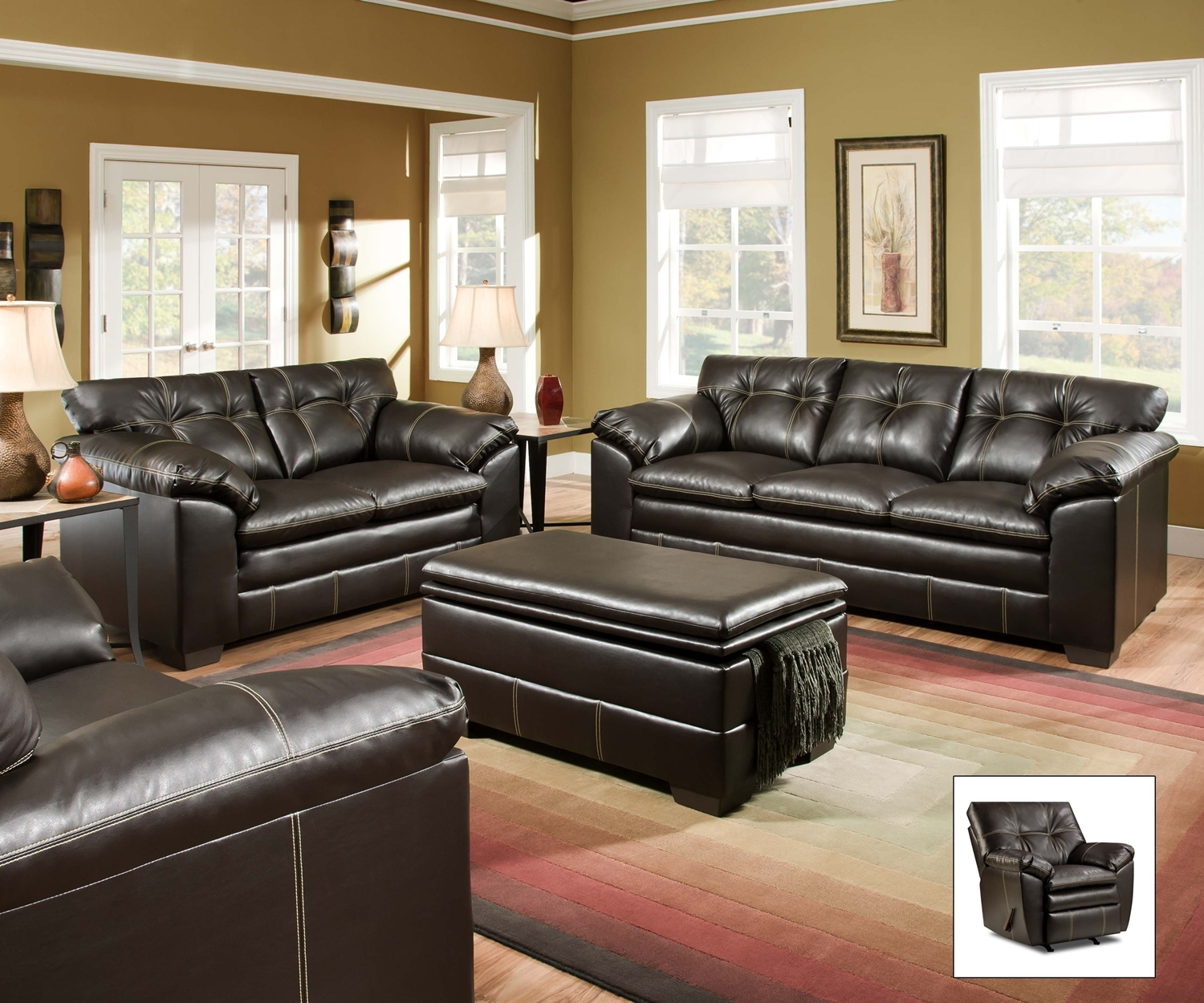 Premier chocolate brown contemporary tufted living room for Simmons living room furniture