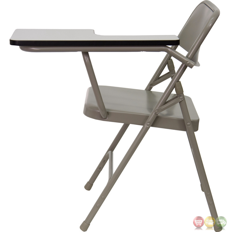 Premium Steel Folding Chair With Left Handed Tablet Arm Hf