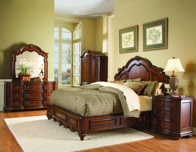Prenzo Traditional Design Low Profile Bedroom Furniture Set