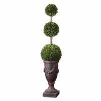 Preserved Boxwood Trees-Greenery Triple Topiary 60093