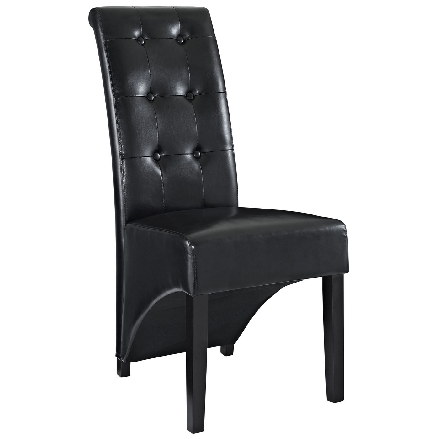 Preside modern stylish button tufted vinyl dining side for Modern black dining chairs