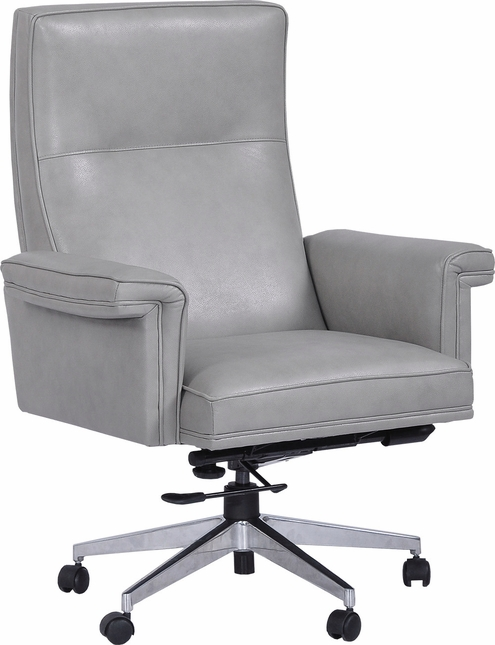 Prestige Top Grain Genuine Leather Office Desk Chair With Chrome Base In Mist