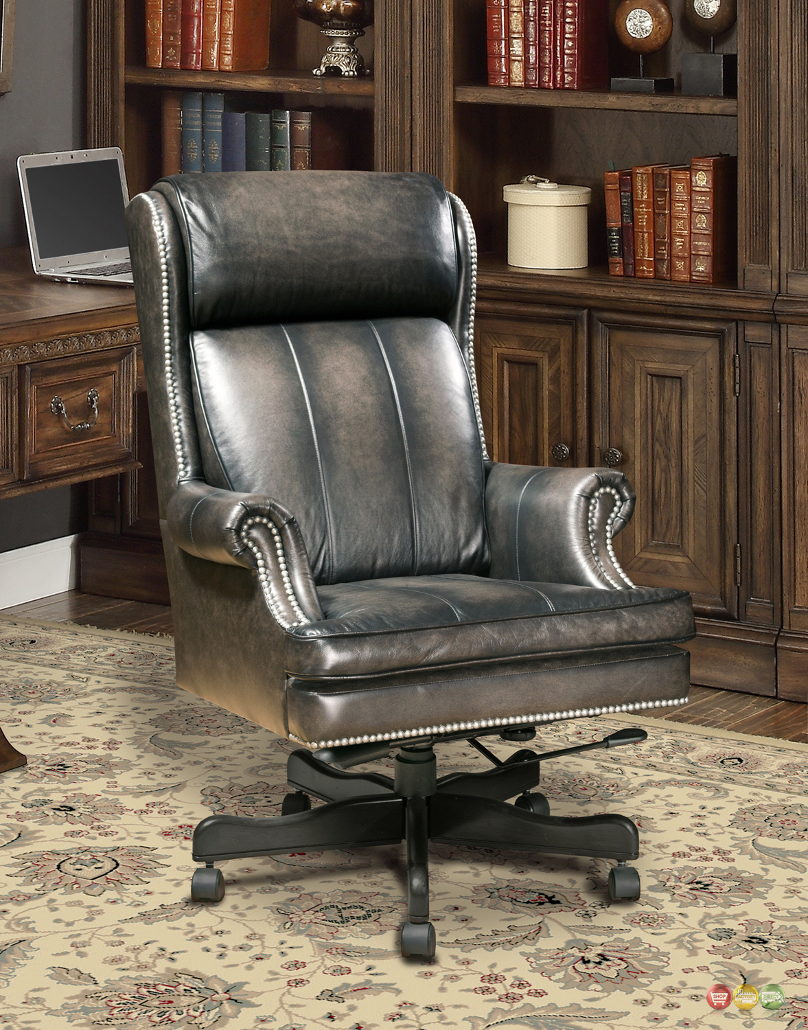 executive office desk chair smoke gray genuine leather